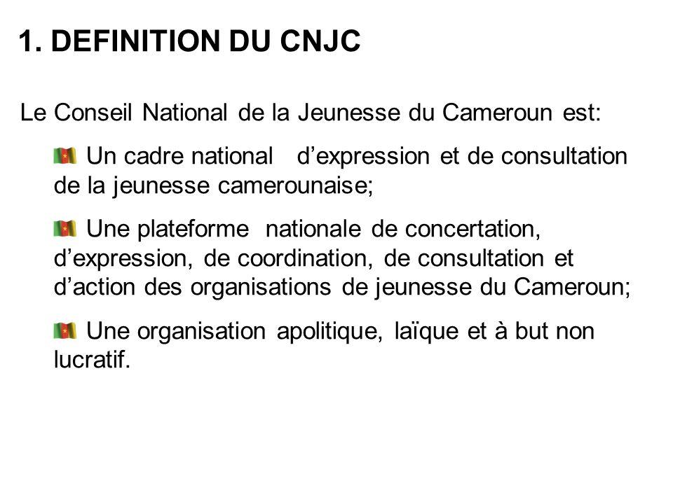 1. DEFINITION DU CNJC Le Conseil National de la Jeunesse du Cameroun est: