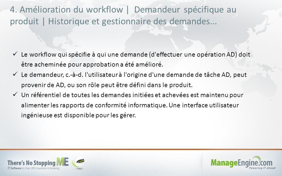 4. Amélioration du workflow | Demandeur spécifique au produit | Historique et gestionnaire des demandes...