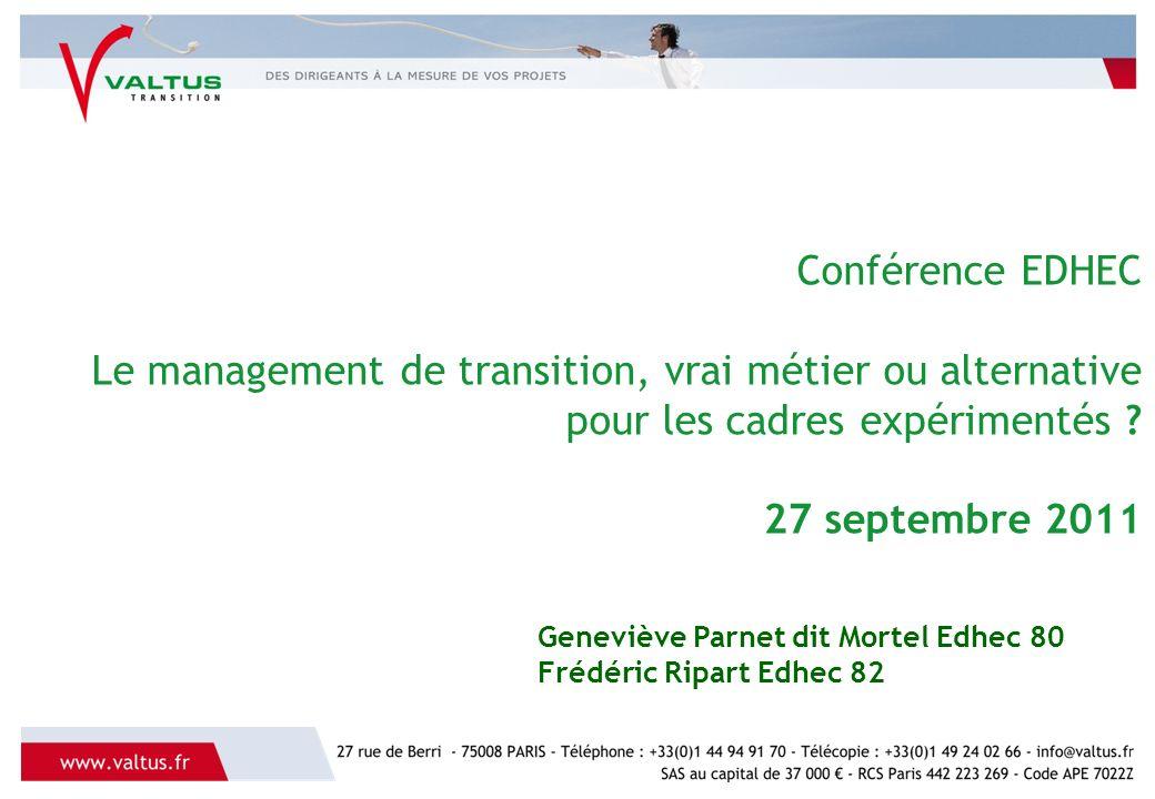 Conférence EDHEC Le management de transition, vrai métier ou alternative pour les cadres expérimentés 27 septembre 2011
