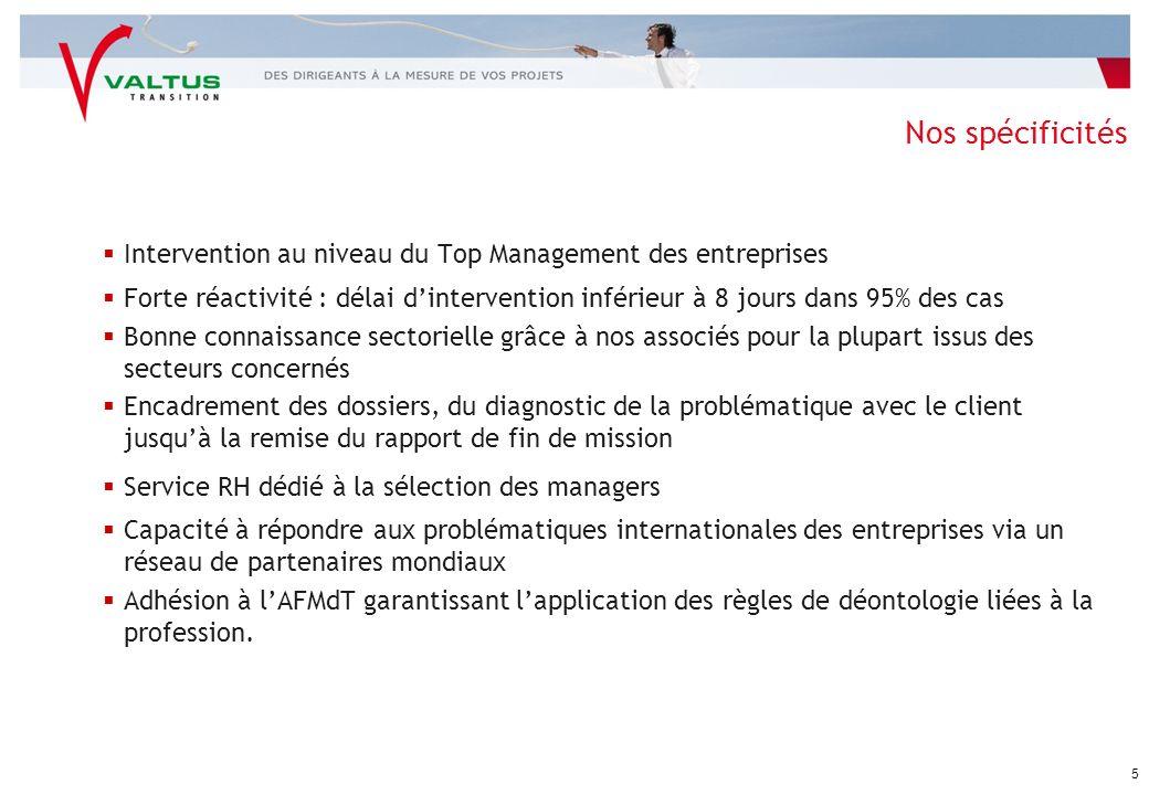 Nos spécificités Intervention au niveau du Top Management des entreprises.