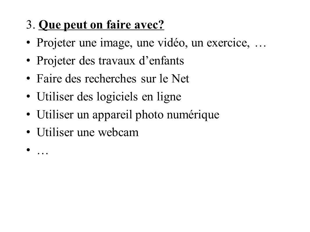 3. Que peut on faire avec Projeter une image, une vidéo, un exercice, … Projeter des travaux d'enfants.