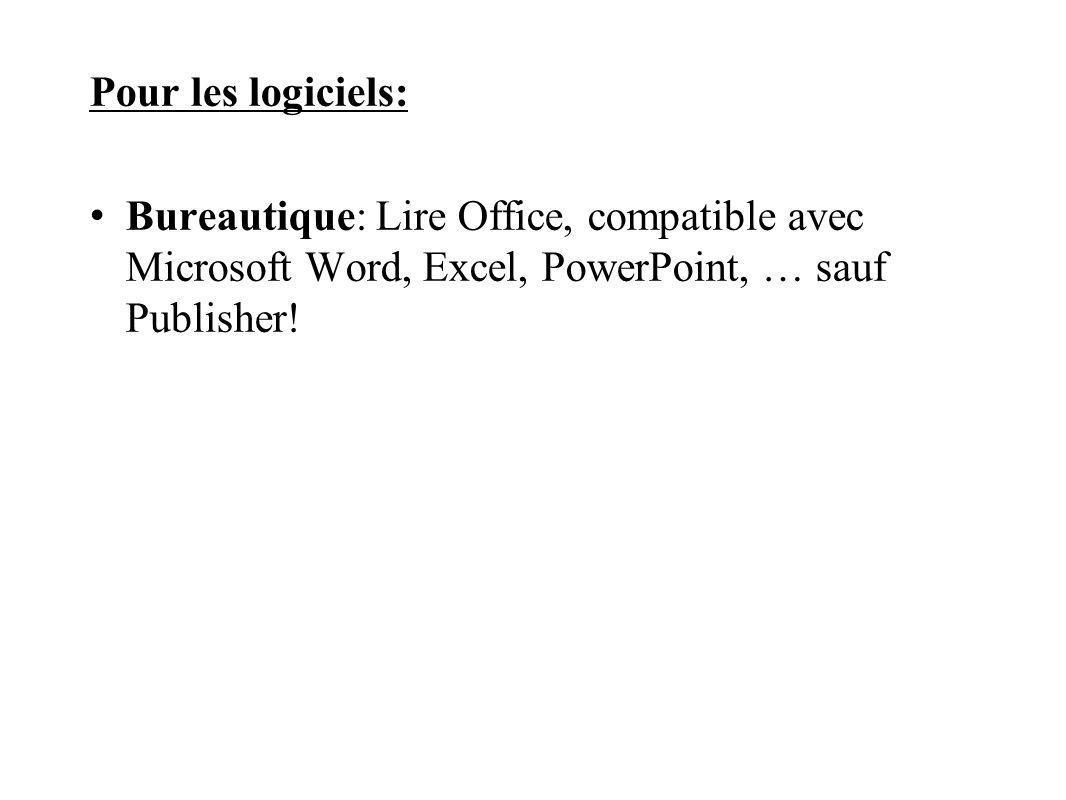 Pour les logiciels: Bureautique: Lire Office, compatible avec Microsoft Word, Excel, PowerPoint, … sauf Publisher!