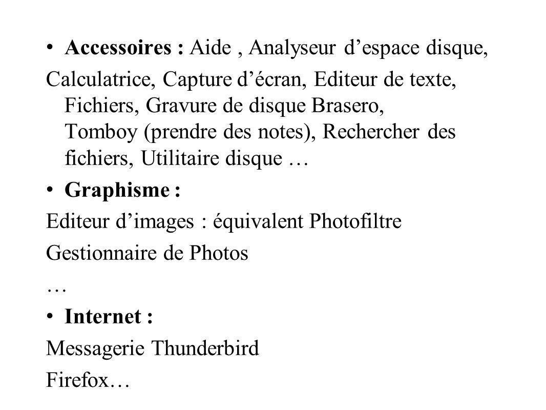Accessoires : Aide , Analyseur d'espace disque,