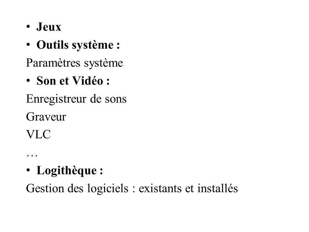 Jeux Outils système : Paramètres système. Son et Vidéo : Enregistreur de sons. Graveur. VLC. …