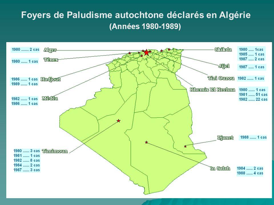 Foyers de Paludisme autochtone déclarés en Algérie