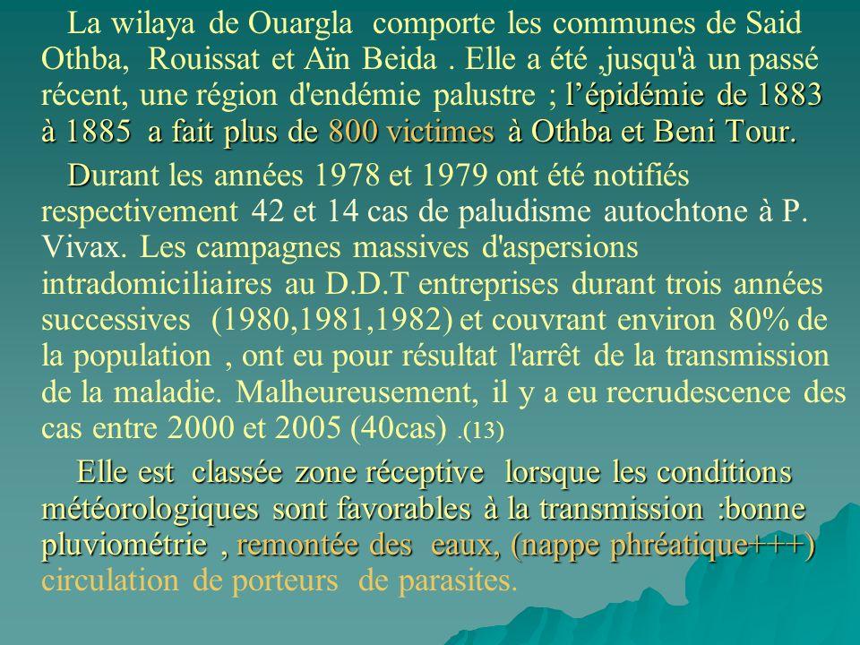 La wilaya de Ouargla comporte les communes de Said Othba, Rouissat et Aïn Beida . Elle a été ,jusqu à un passé récent, une région d endémie palustre ; l'épidémie de 1883 à 1885 a fait plus de 800 victimes à Othba et Beni Tour.