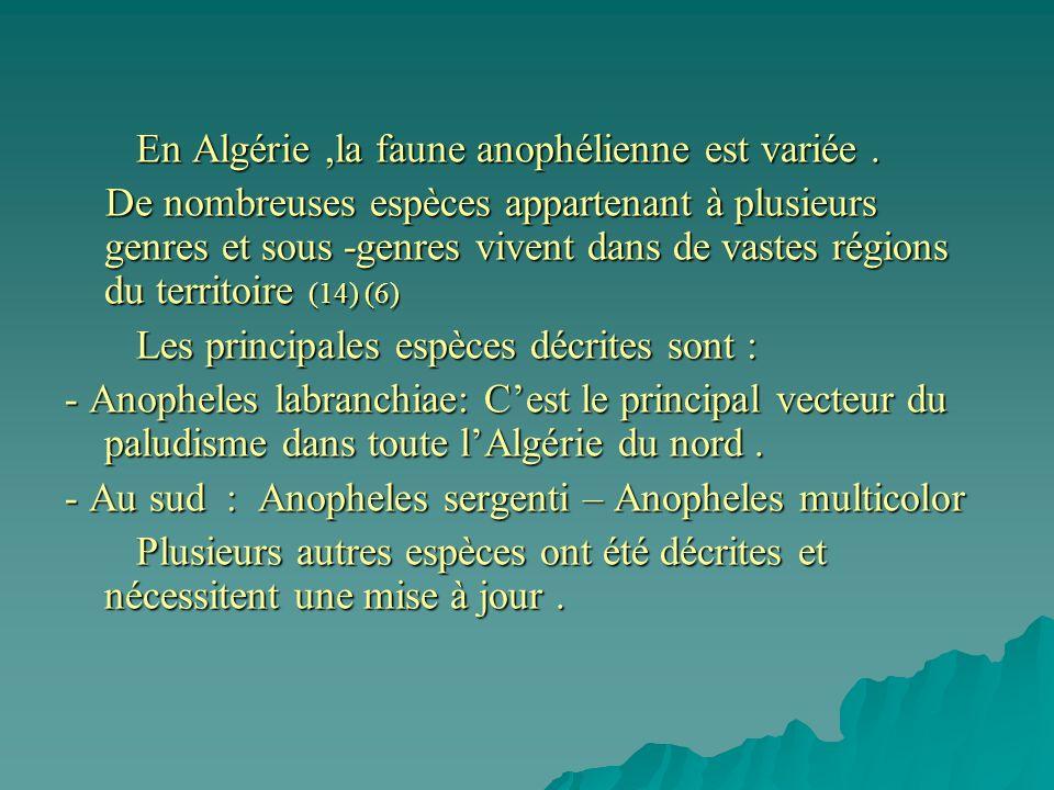 En Algérie ,la faune anophélienne est variée .