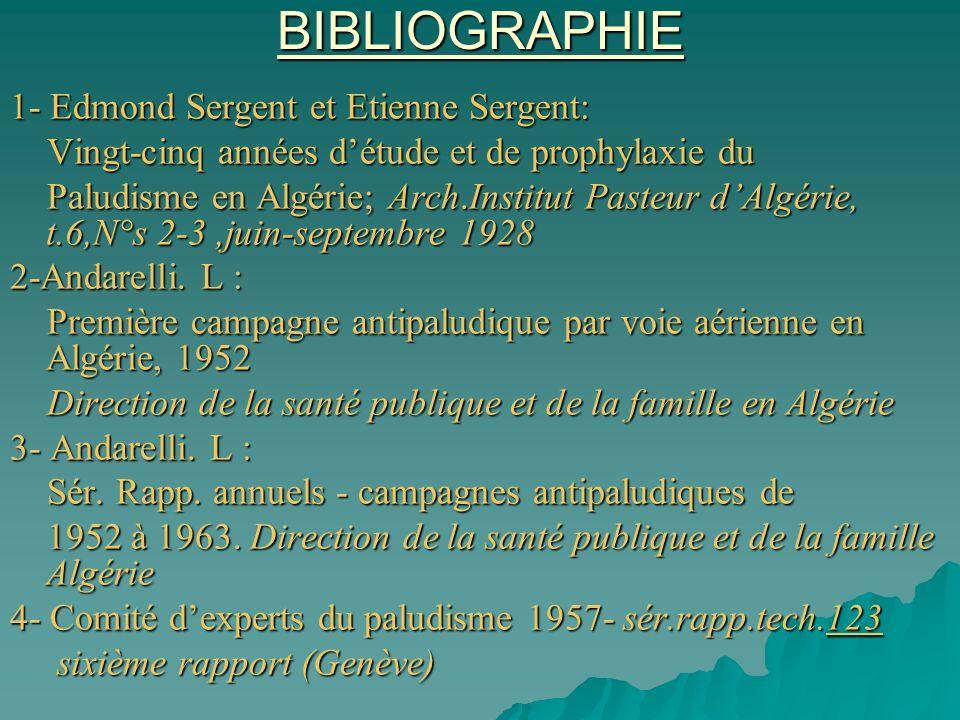 BIBLIOGRAPHIE 1- Edmond Sergent et Etienne Sergent: