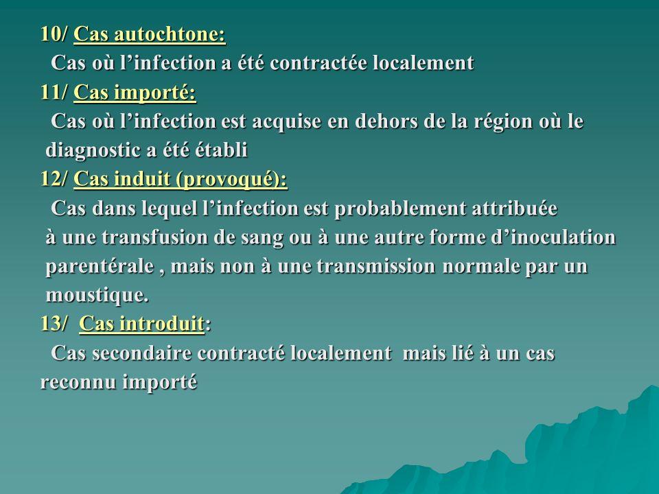 10/ Cas autochtone: Cas où l'infection a été contractée localement. 11/ Cas importé: Cas où l'infection est acquise en dehors de la région où le.