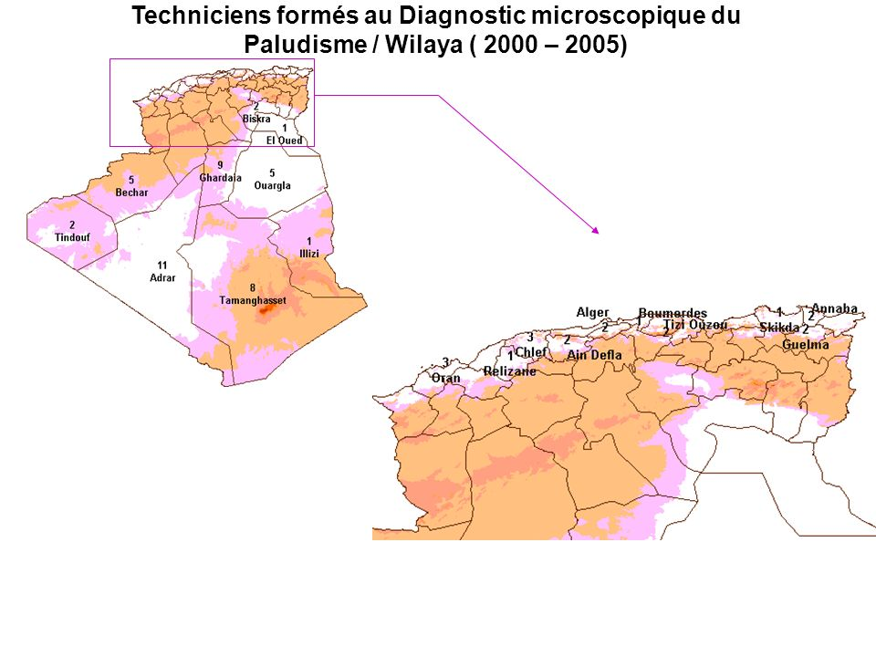 Techniciens formés au Diagnostic microscopique du Paludisme / Wilaya ( 2000 – 2005)