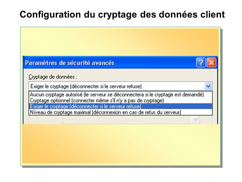 Configuration du cryptage des données client