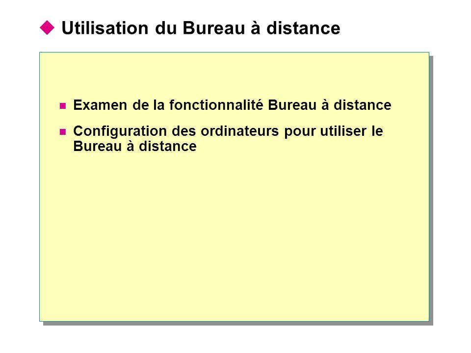 Utilisation du Bureau à distance