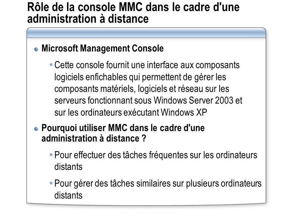 Rôle de la console MMC dans le cadre d une administration à distance