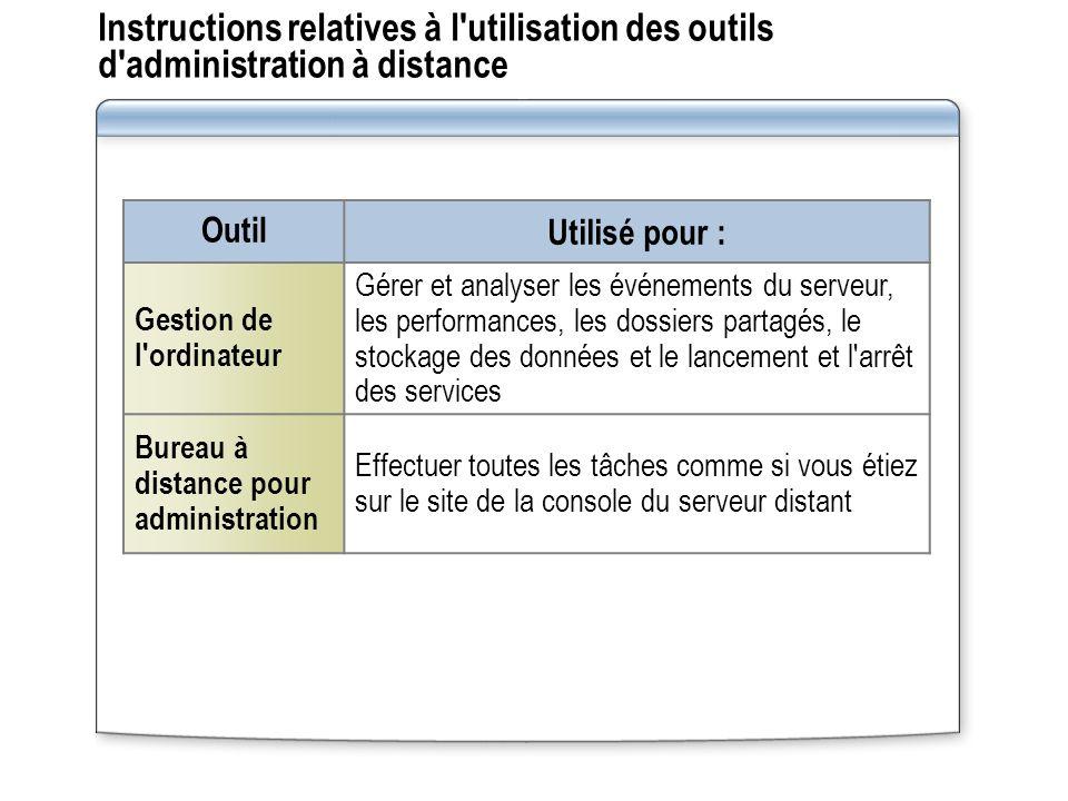 Instructions relatives à l utilisation des outils d administration à distance
