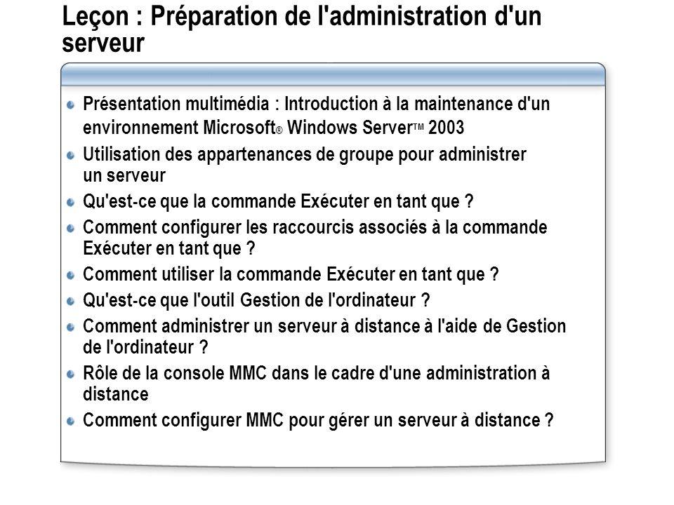 Leçon : Préparation de l administration d un serveur