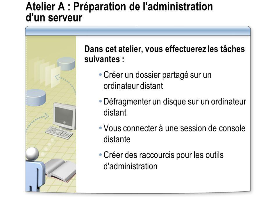 Atelier A : Préparation de l administration d un serveur
