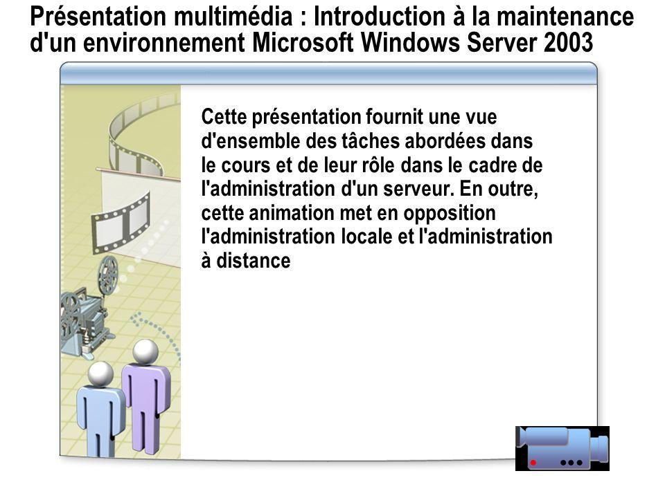 Présentation multimédia : Introduction à la maintenance d un environnement Microsoft Windows Server 2003