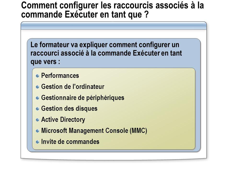 Comment configurer les raccourcis associés à la commande Exécuter en tant que