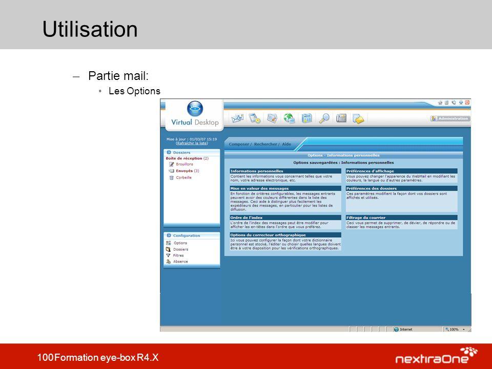 Utilisation Partie mail: Les Options
