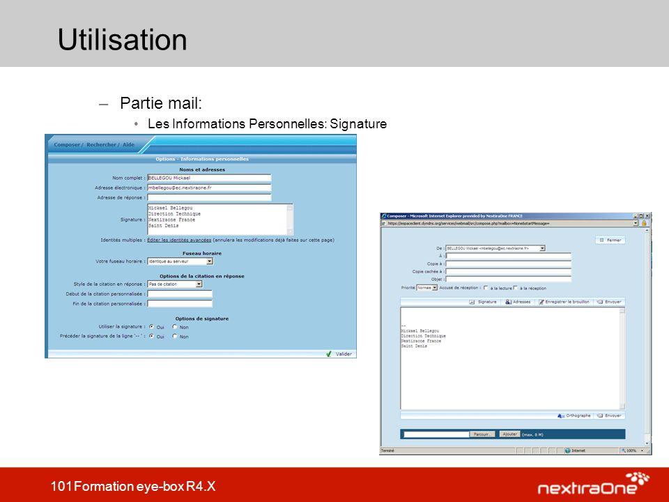 Utilisation Partie mail: Les Informations Personnelles: Signature