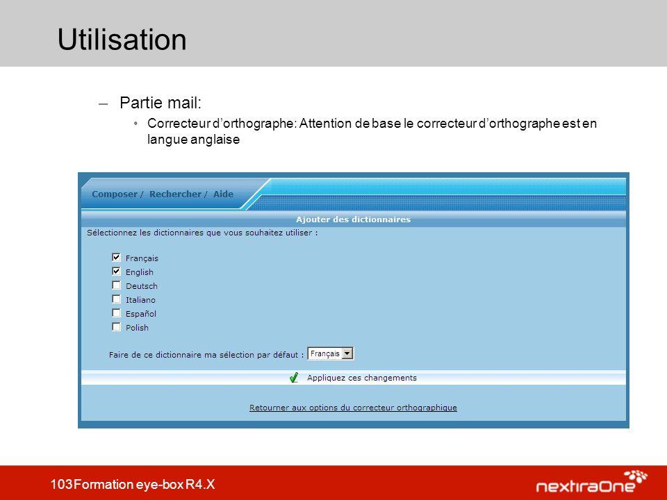 Utilisation Partie mail: