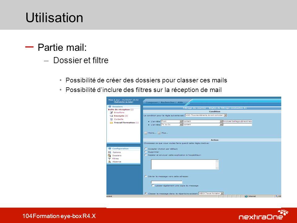 Utilisation Partie mail: Dossier et filtre