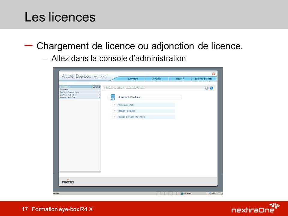 Les licences Chargement de licence ou adjonction de licence.