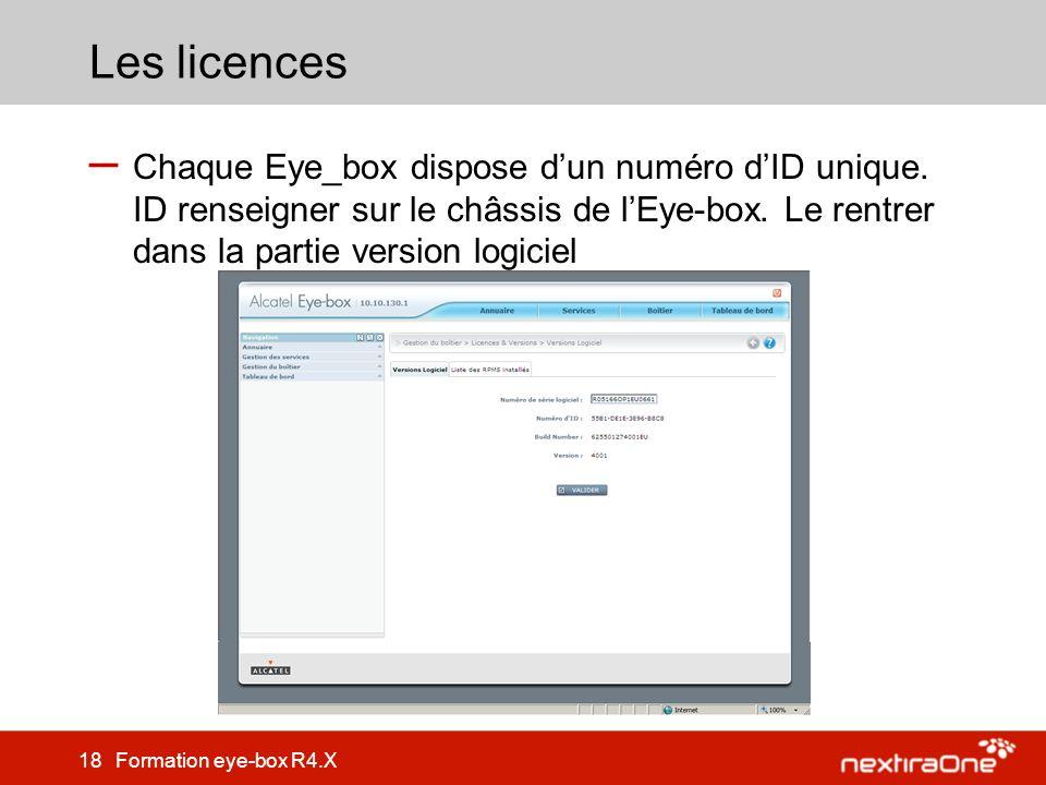 Les licences Chaque Eye_box dispose d'un numéro d'ID unique.