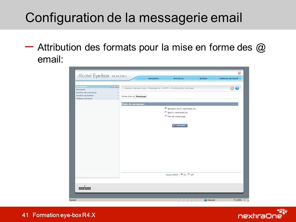 Configuration de la messagerie email