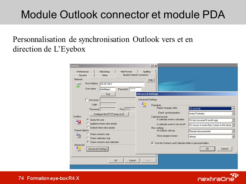 Module Outlook connector et module PDA