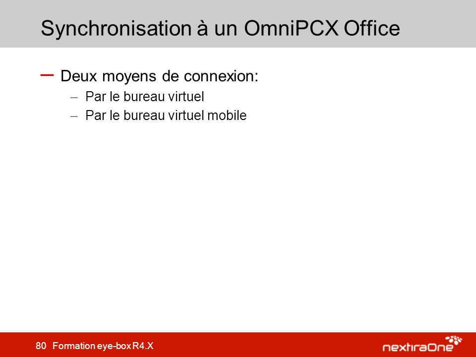 Synchronisation à un OmniPCX Office