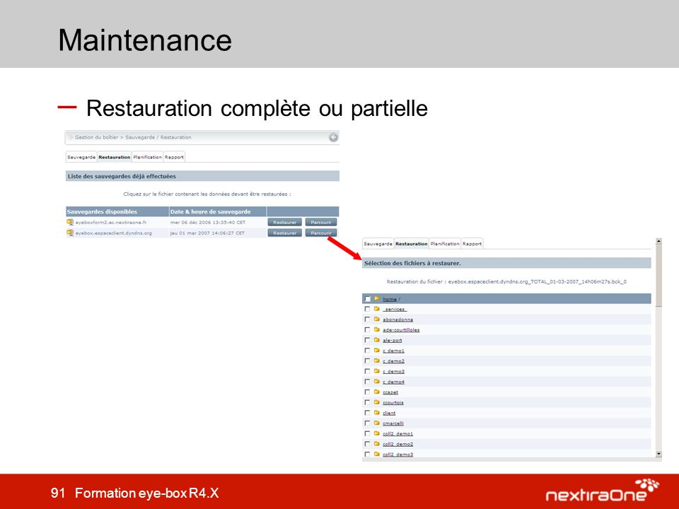 Maintenance Restauration complète ou partielle