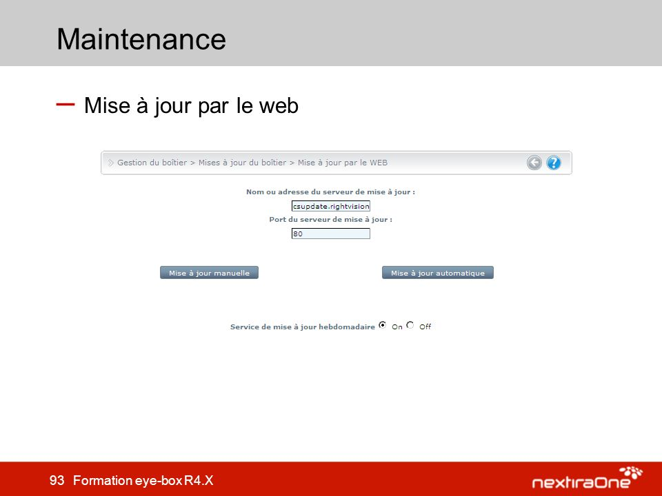 Maintenance Mise à jour par le web