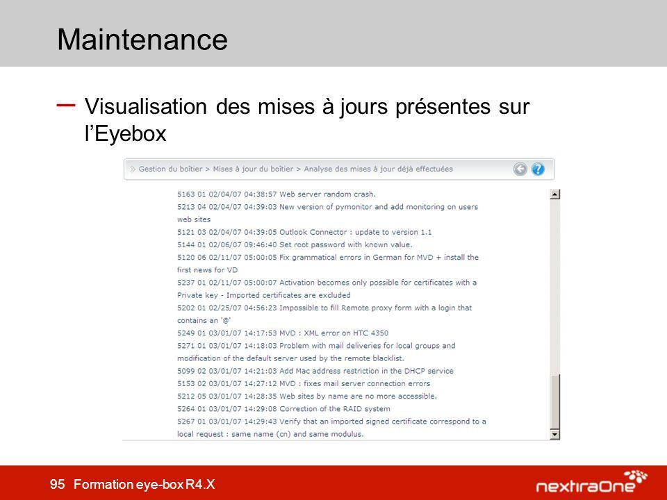 Maintenance Visualisation des mises à jours présentes sur l'Eyebox