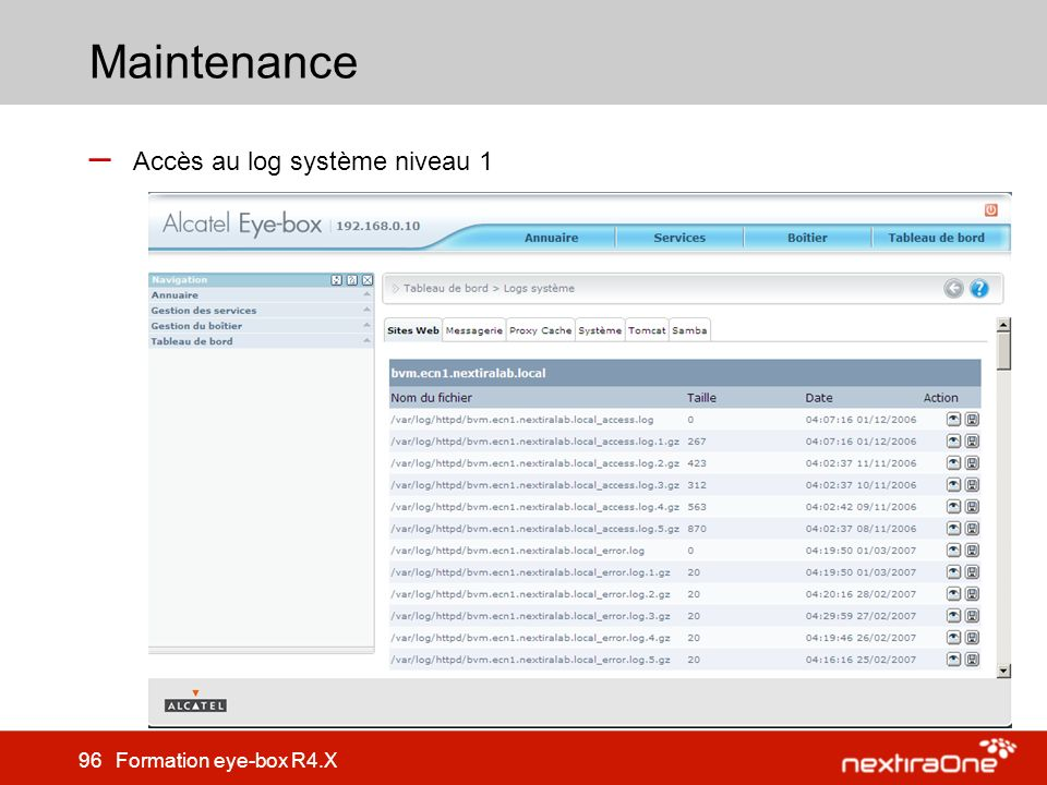 Maintenance Accès au log système niveau 1