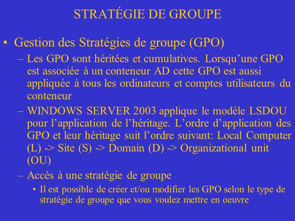 Gestion des Stratégies de groupe (GPO)