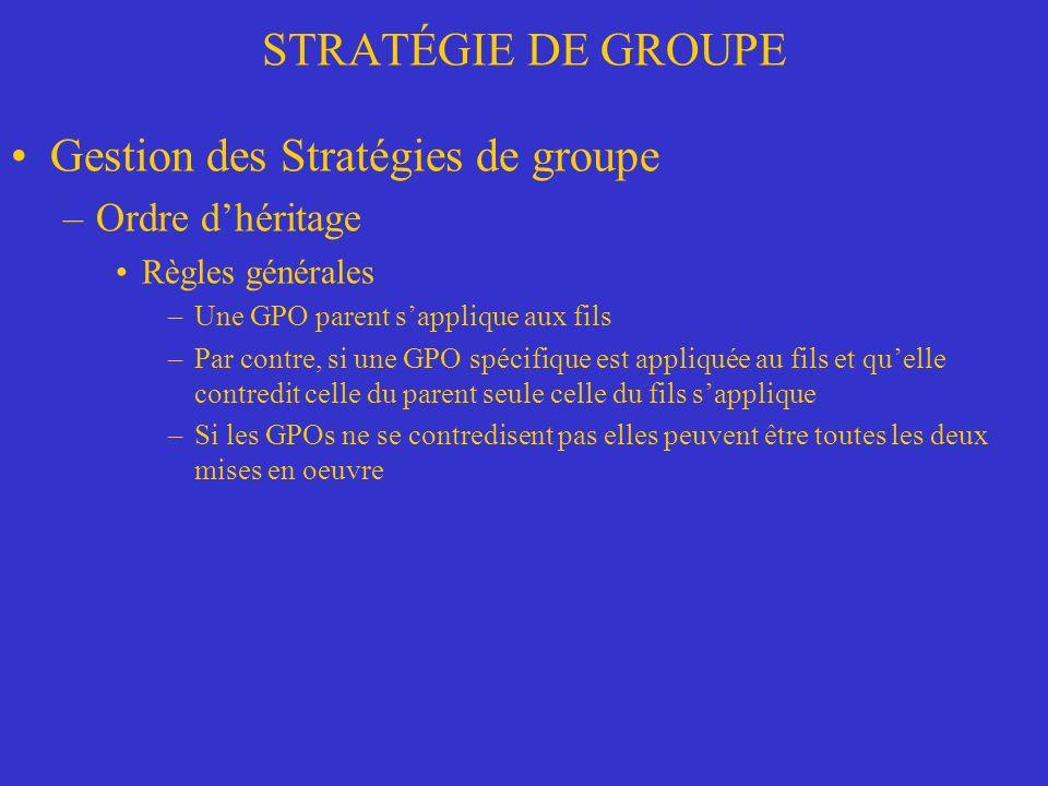 Gestion des Stratégies de groupe