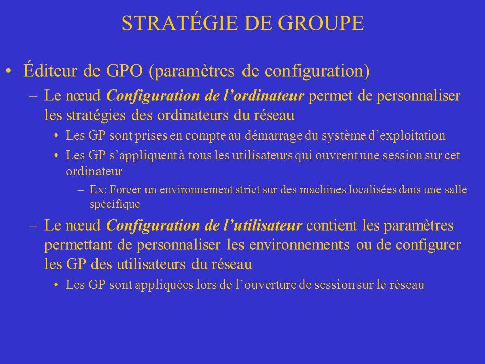 STRATÉGIE DE GROUPE Éditeur de GPO (paramètres de configuration)