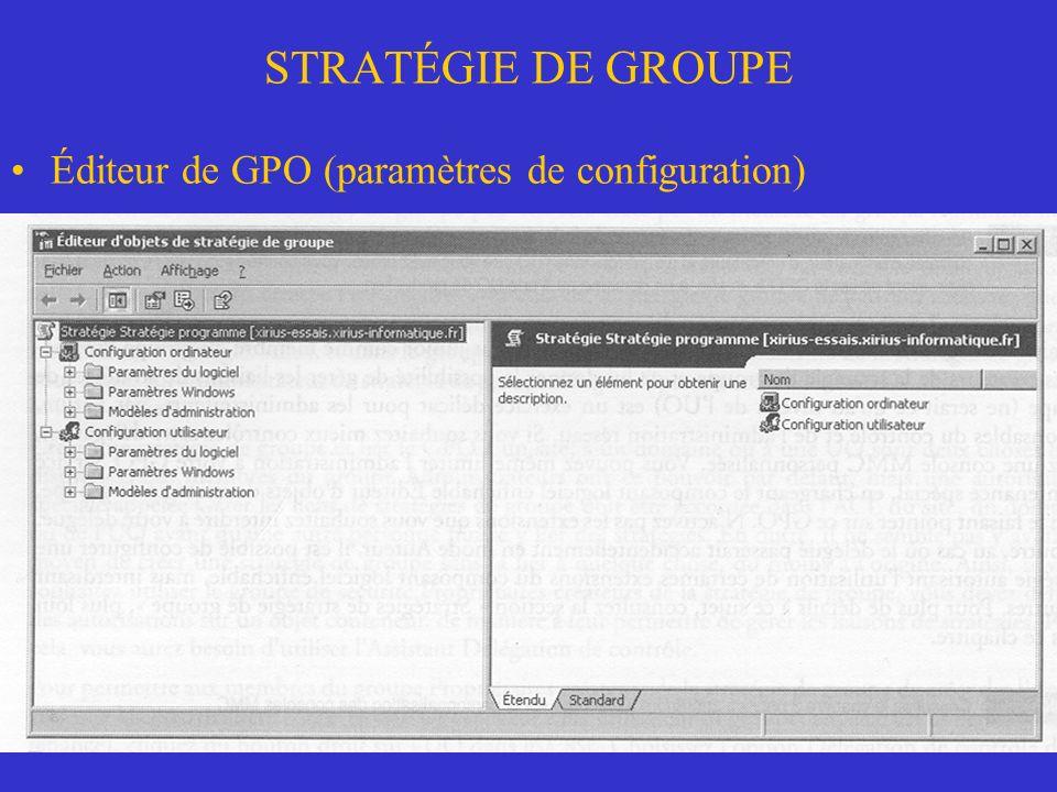 STRATÉGIE DE GROUPE Éditeur de GPO (paramètres de configuration) Group