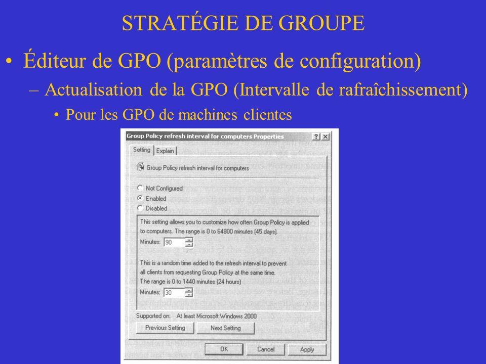 Éditeur de GPO (paramètres de configuration)