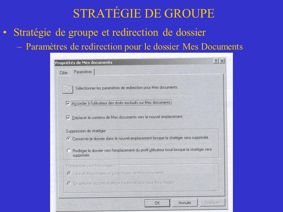 STRATÉGIE DE GROUPE Stratégie de groupe et redirection de dossier