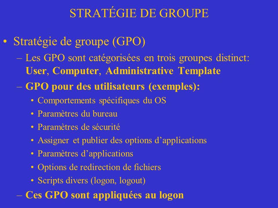 Stratégie de groupe (GPO)