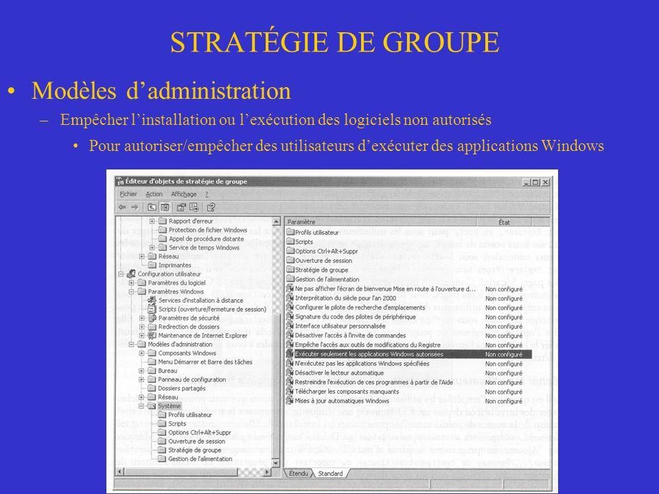 STRATÉGIE DE GROUPE Modèles d'administration