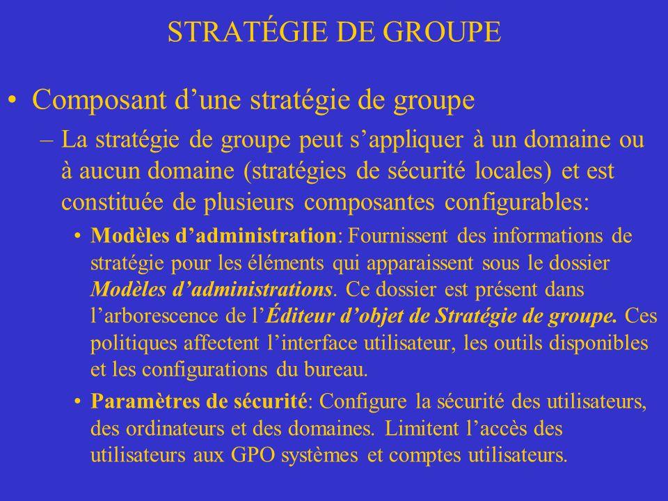 Composant d'une stratégie de groupe