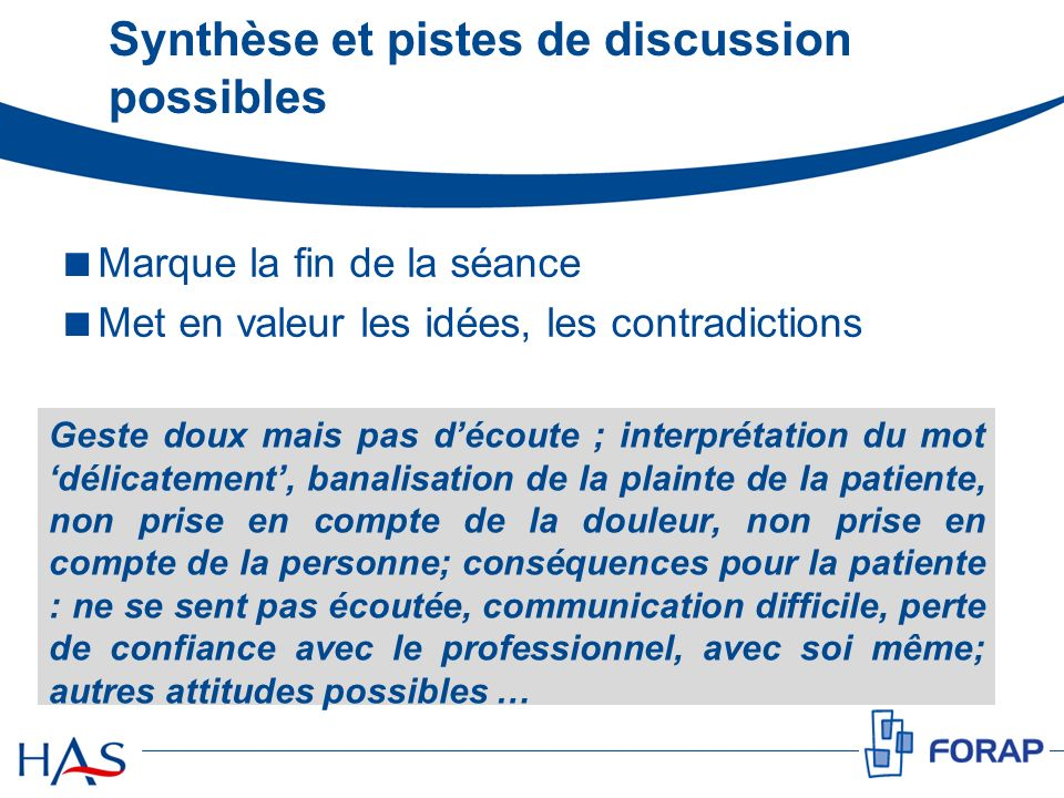 Synthèse et pistes de discussion possibles