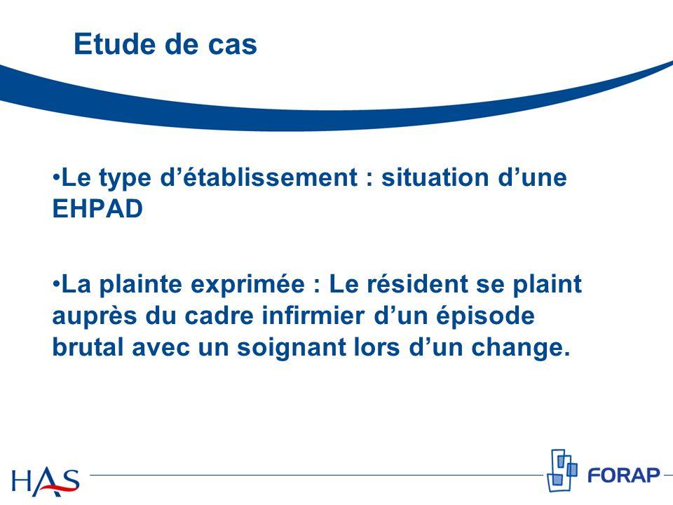 Etude de cas Le type d'établissement : situation d'une EHPAD