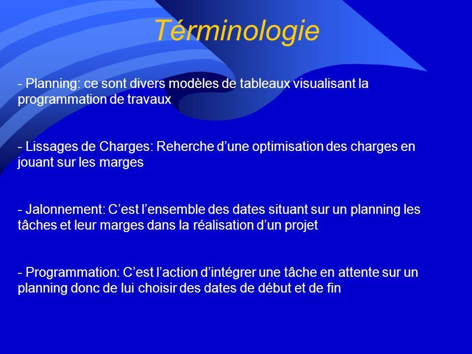 Términologie Planning: ce sont divers modèles de tableaux visualisant la programmation de travaux.