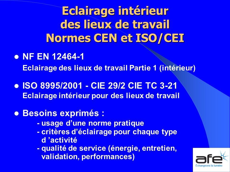 Eclairage intérieur des lieux de travail Normes CEN et ISO/CEI