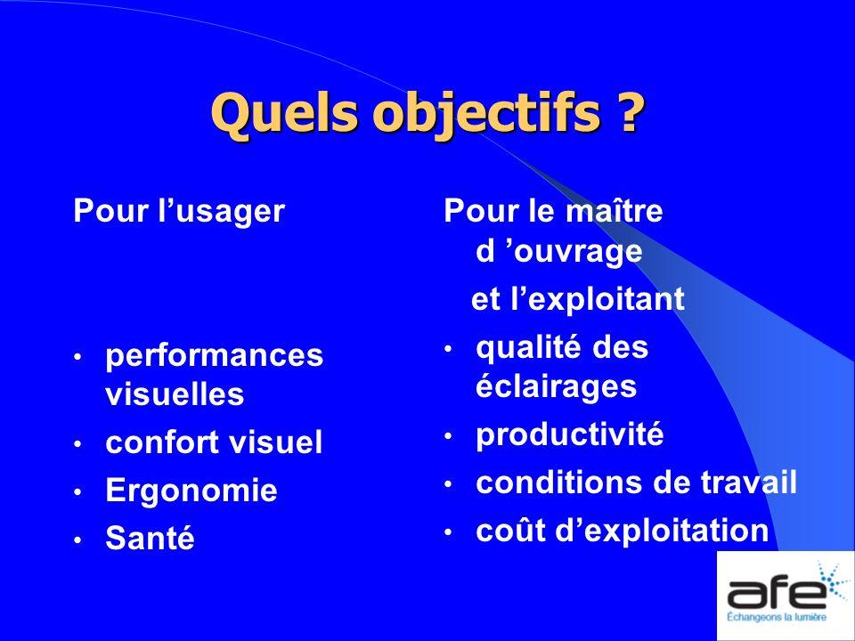Quels objectifs Pour l'usager performances visuelles confort visuel
