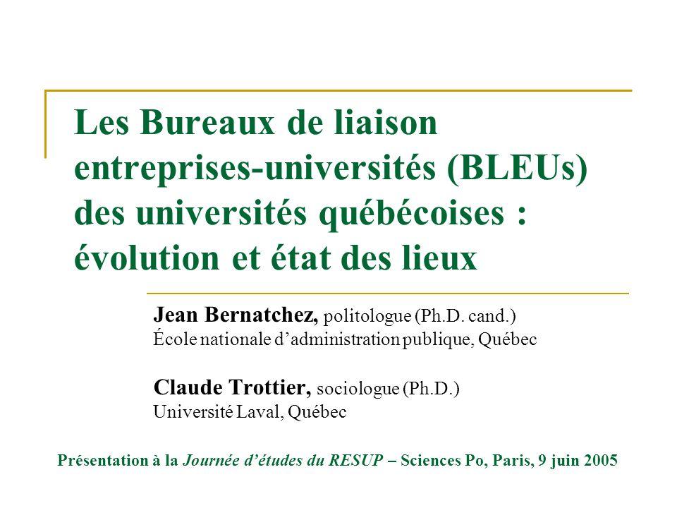 Les Bureaux de liaison entreprises-universités (BLEUs) des universités québécoises : évolution et état des lieux